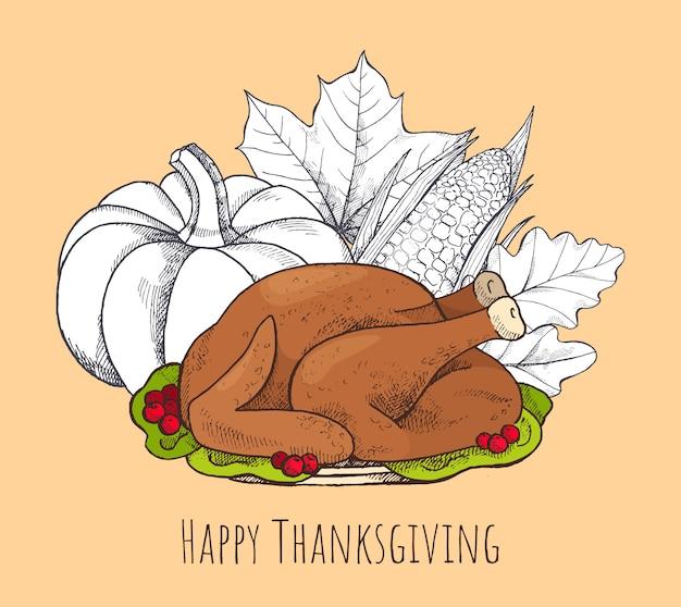 Felice giorno del ringraziamento poster con set di alimenti