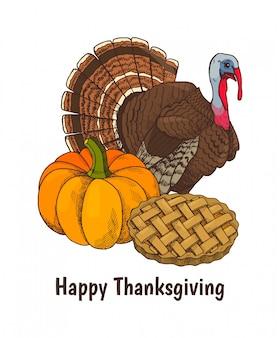 Felice giorno del ringraziamento poster e testo