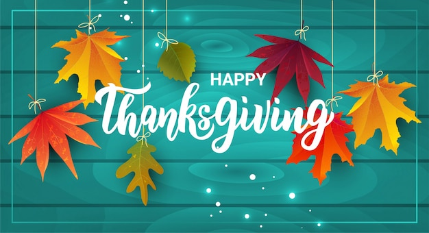 Felice giorno del ringraziamento scritte a mano testo.