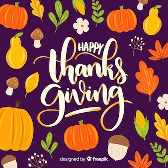Felice giorno del ringraziamento scritte sullo sfondo