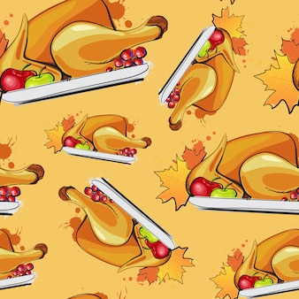 Felice giorno del ringraziamento seamless pattern autumn traditional greeting card with turchia arrosto
