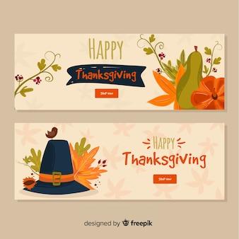 Felice giorno del ringraziamento set di banner
