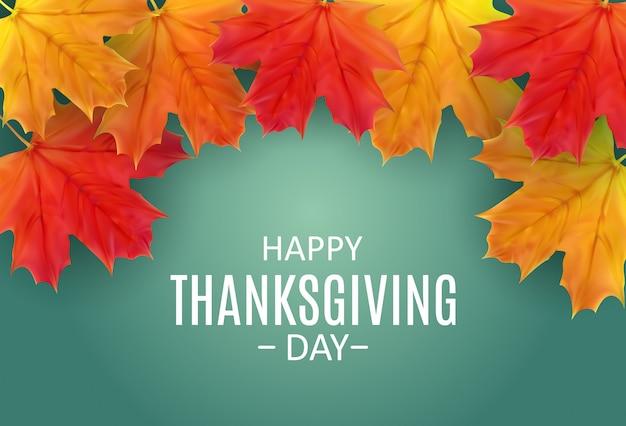 Felice giorno del ringraziamento sfondo con autumn natural leaves brillante