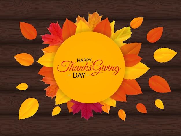 Felice giorno del ringraziamento sfondo con autumn natural leaves brillante.