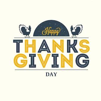 Felice giorno del ringraziamento testo con uccelli di tacchino sulla cartolina d'auguri bianca
