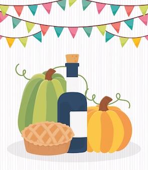 Felice giorno del ringraziamento zucche torta di mele vino