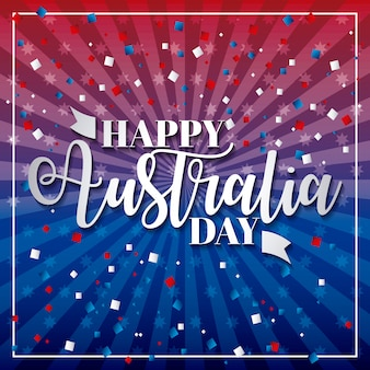 Felice giorno dell'australia, stelle blu e rosse e linea con coriandoli