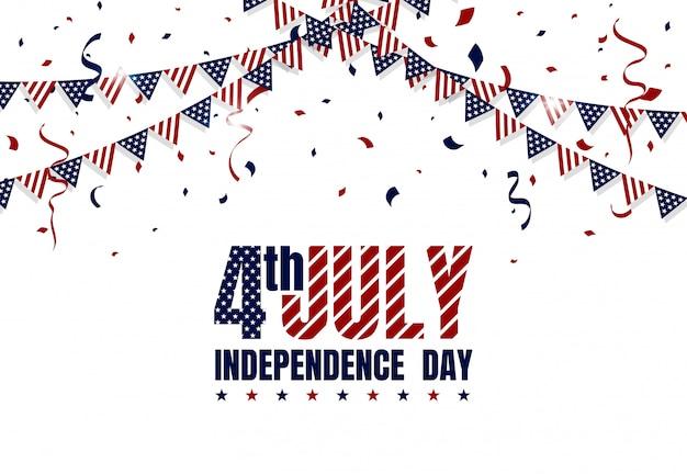 Felice giorno dell'indipendenza americana il 4 luglio. bandiera