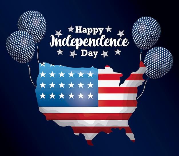 Felice giorno dell'indipendenza card con mappa