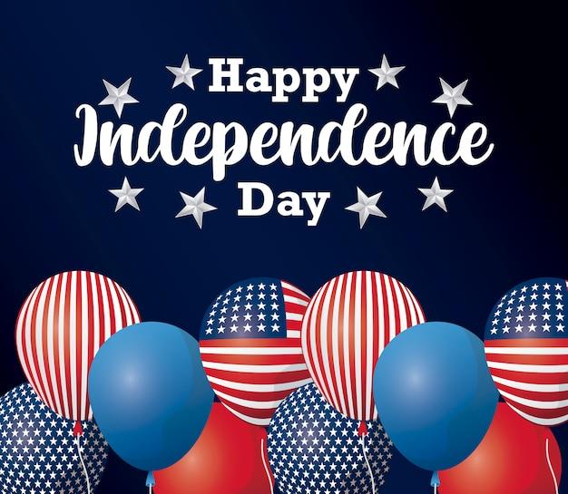 Felice giorno dell'indipendenza card con palloncini elio