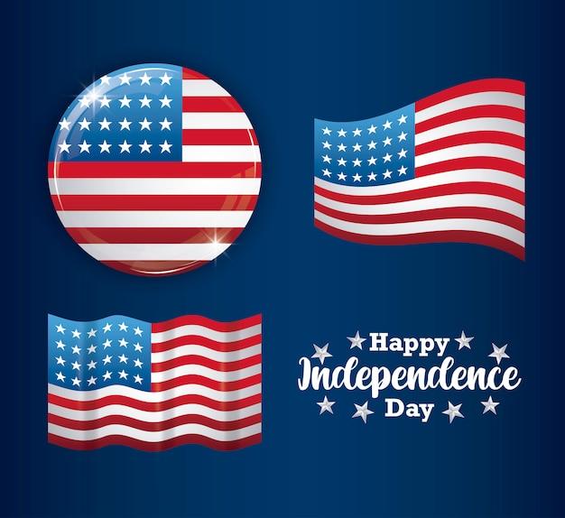 Felice giorno dell'indipendenza card con set di bandiere