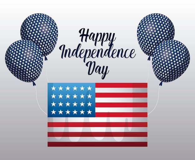 Felice giorno dell'indipendenza carta con bandiera e palloncini elio