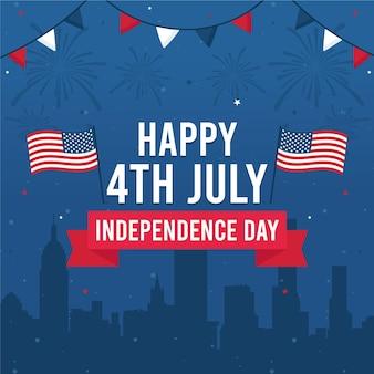 Felice giorno dell'indipendenza con bandiere e ghirlanda