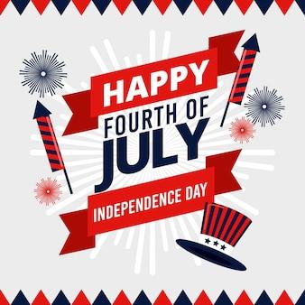 Felice giorno dell'indipendenza con fuochi d'artificio e cappello