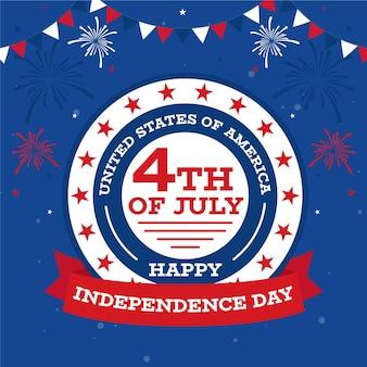Felice giorno dell'indipendenza con fuochi d'artificio e ghirlanda