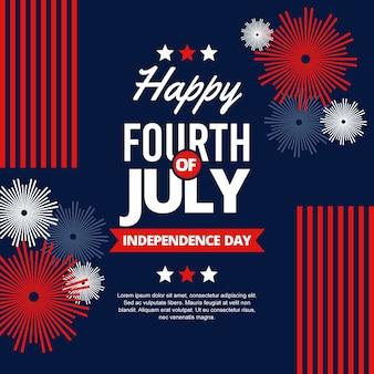 Felice giorno dell'indipendenza con fuochi d'artificio