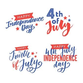 Felice giorno dell'indipendenza saluto set di lettere