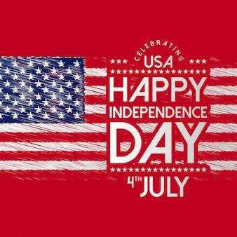 Felice giorno dell'indipendenza usa con bandiera