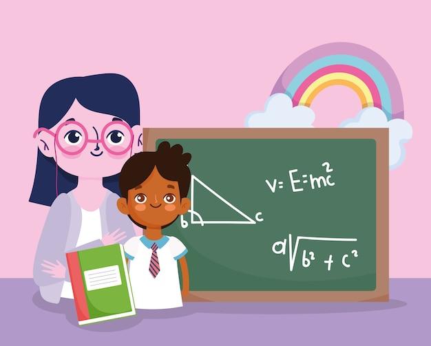 Felice giorno dell'insegnante, insegnante e studente ragazzo lavagna e libro