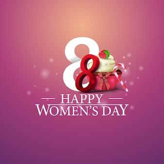 Felice giorno della donna logo con numero otto e cupcake