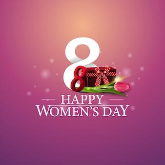 Felice giorno della donna logo con numero otto regalo e tulipano