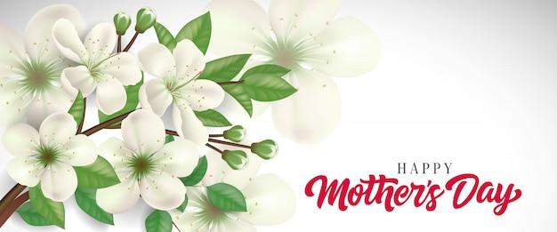 Felice giorno della mamma lettering con ramoscello in fiore. biglietto di auguri per la festa della mamma