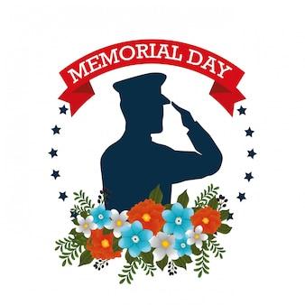 Felice giorno della memoria con bellissimi fiori e silhouette soldato