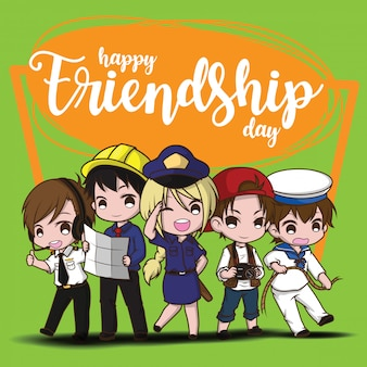 Felice giorno di amicizia., bambini in abito di lavoro., concetto di lavoro.
