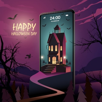 Felice giorno di halloween sul cellulare