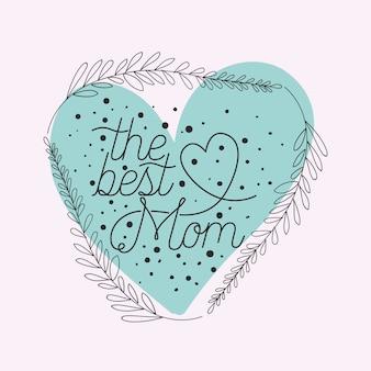 Felice giorno di madri carta con cornice cuore di erbe