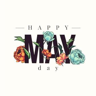 Felice giorno di maggio sfondo con fiori disegnati a mano