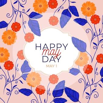 Felice giorno di maggio sfondo con fiori e foglie