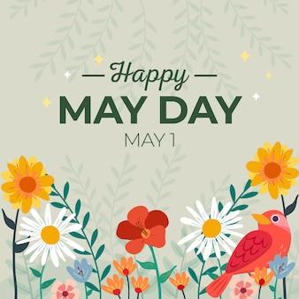 Felice giorno di maggio sfondo con fiori e uccelli