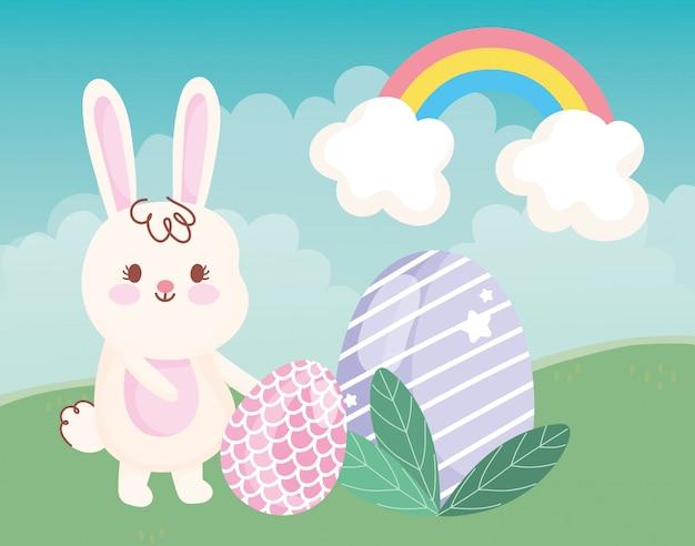 Felice giorno di pasqua coniglio con uova foglie erba arcobaleno decorazione illustrazione