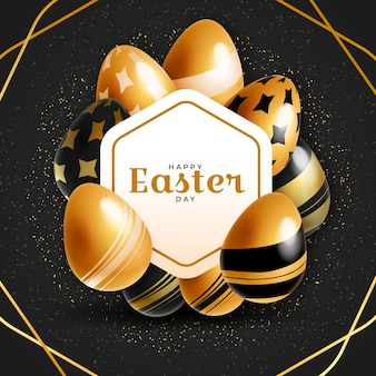 Felice giorno di pasqua d'oro con le uova