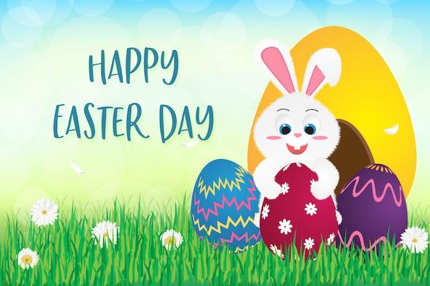 Felice giorno di pasqua, illustrazione con coniglietto di pasqua tenendo le uova di pasqua