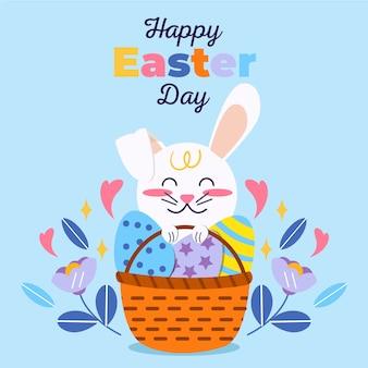 Felice giorno di pasqua piatto con coniglietto
