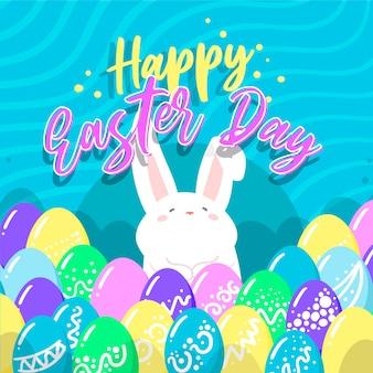 Felice giorno di pasqua piatto con coniglio