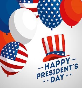 Felice giorno di presidenti con palloncini elio e bandiera usa