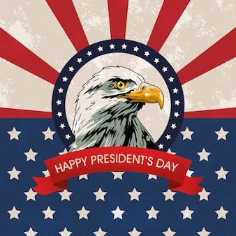 Felice giorno di presidenti sfondo con aquila e bandiera degli stati uniti