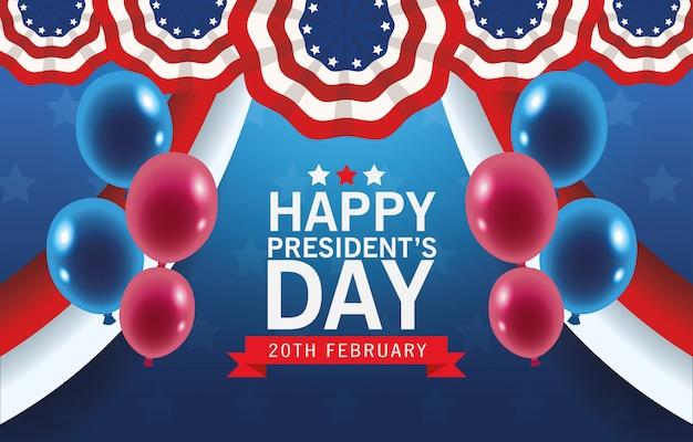Felice giorno di presidenti sfondo con bandiera usa e palloncini elio
