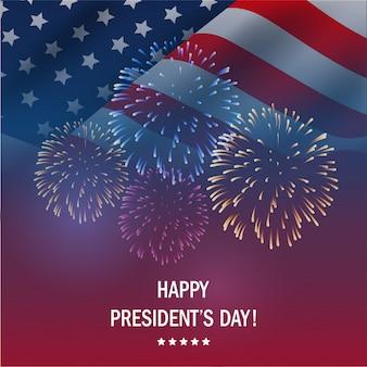Felice giorno di presidenti usa con sfondo di fuochi d'artificio.