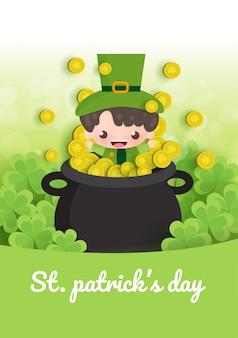 Felice giorno di san patrizio e biglietto di auguri con verde e oro quattro e foglia di albero in carta tagliata stile.