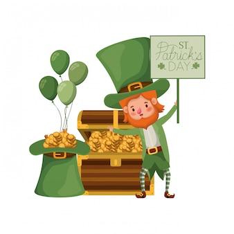 Felice giorno di san patrizio etichetta con personaggio leprechaun