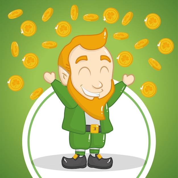 Felice giorno di san patrizio, leprechaun con monete