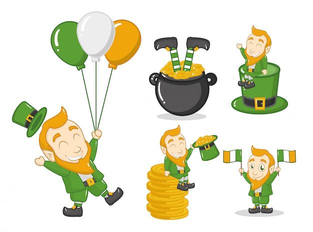 Felice giorno di san patrizio, leprechaun con oggetti irlandesi