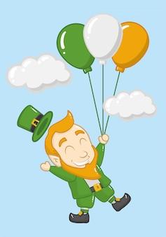 Felice giorno di san patrizio, leprechaun con palloncini
