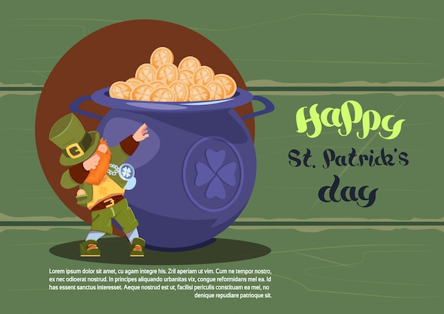 Felice giorno di san patrizio sfondo con leprechaun verde sopra pentola piena di monete d'oro