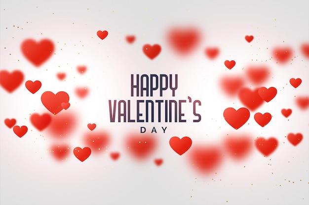 Felice giorno di san valentino amore sfondo con cuori galleggianti