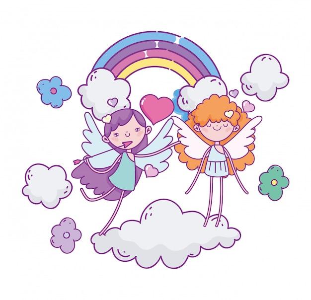 Felice giorno di san valentino, arcobaleno di fiori volanti personaggi nuvole di amorini